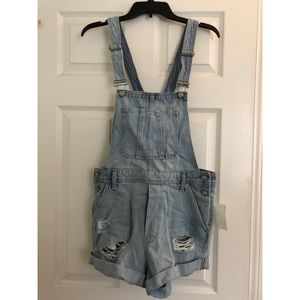 H&M Distressed Light Wash Overall Shorts